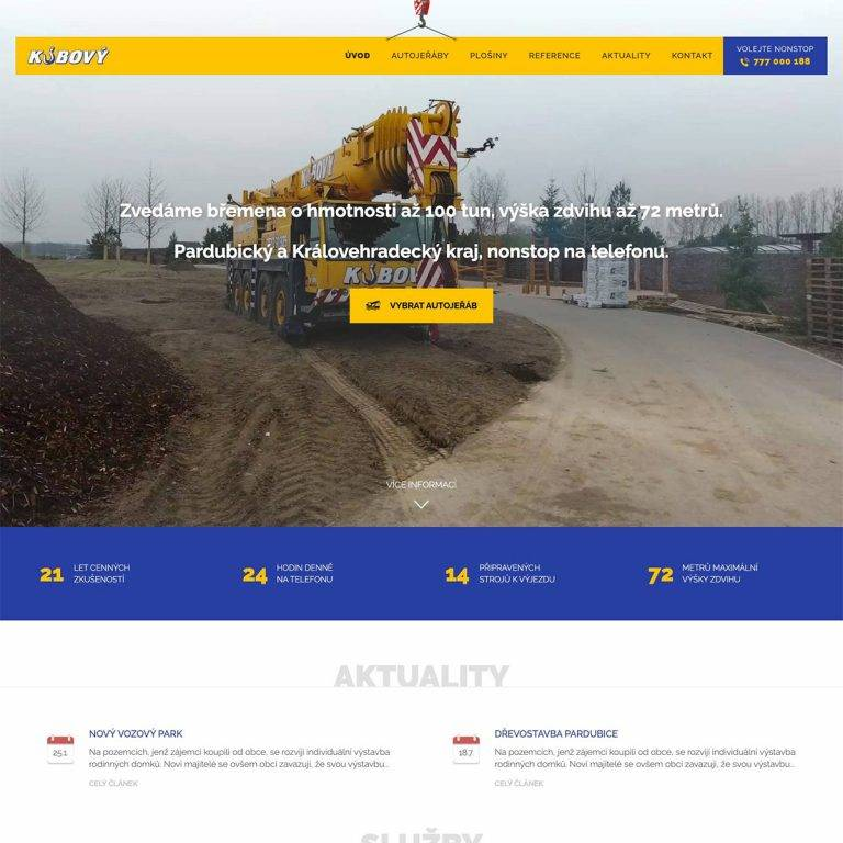 Tvorba webu Exclusive pro Kubový jeřáby s.r.o. - Choceň, Pardubice | Netpromotion